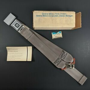 Nos Gm Rear Seat Belt With Buckle Standard Lap Part 20270945 Gray Vintage