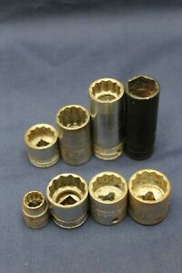 Lot Of 8 Snap On Sockets 3 8 And 1 4 Drive F4b8