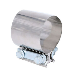 4 Stainless Steel T 304 Exhaust Band Clamps Sleeve Coupler For Catback Muffler