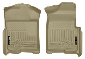 Husky Liners Weatherbeater Front 1st Row Floor Mats Tan For 2009 14 Ford F 150