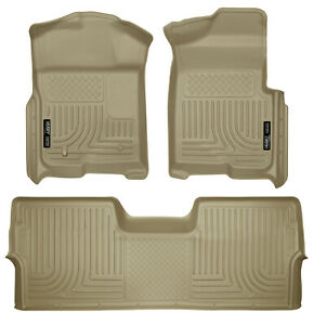 Husky Weatherbeater Floor Mats Tan For 2009 14 Ford F 150 Supercrew Crew Cab