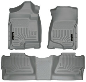 Husky Liners Weatherbeater Floor Mats Grey For 07 13 Chevy 1500 Silverado Crew