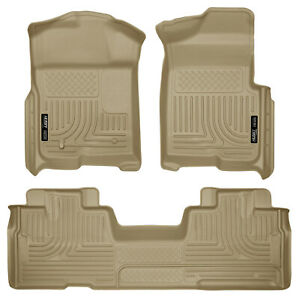 Husky Liners Weatherbeater Floor Mats Tan For 09 14 Ford F 150 Extended Super