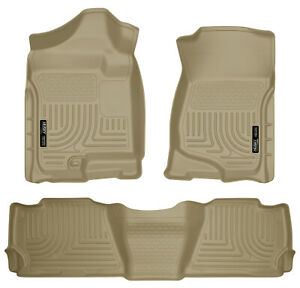Husky Weatherbeater 1st 2nd Row Floor Mats Tan For 09 14 Ford F 150 Crew