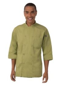 Chef Works Morocco Chef Coat Double Breasted Jacket Lime Green Large Nwt Jlcl
