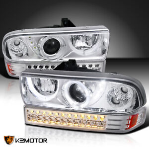 1998 2004 Chevy S10 Blazer Led Halo Clear Projector Headlights led Bumper Lights