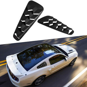 2pc Matte Black Side Window Louver Quarter Scoop Vent Sun Shade For Ford Mustang