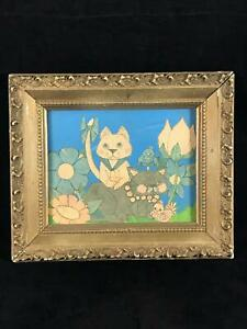 Funky Vintage Ornate Gold Framed Cats And Birds Picture Blues Golds 9 X 11