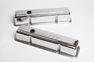 Moroso Chrome Plated Tall Steel Valve Covers Sbc Pair Pn68102 W breathers