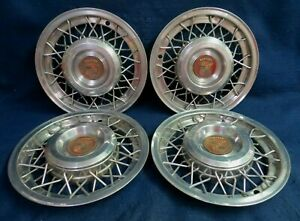 Cadillac 1950 1954 15 Metal Wire Wheel Covers Set Of 4 Oem