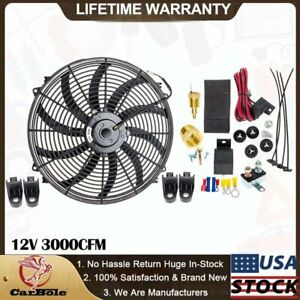 16 Electric Radiator Cooling Fan 12v 3000cfm Thermostat Wiring Switch Relay Kit