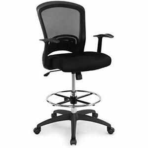Ergonomic Mid back Mesh Adjustable Drafting Chair With Foot Ring Standing des