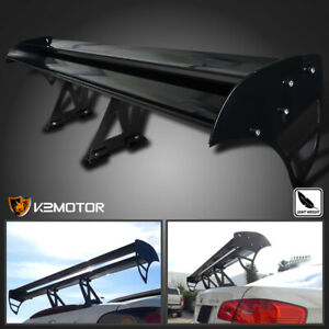 Black Aluminum Adjustable Gt Double Deck F1 Style Trunk Spoiler Wing