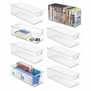 Mdesign Large Stackable Plastic Storage Bin Container Home Office 16 X 6 X 5
