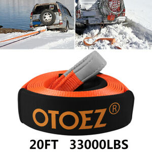 Heavy Duty Recovery Tow Strap Emergency Rope 3 X20 15 Tons 2 Protective Sleeves