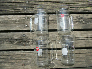 Lot Of 4 Kimax Usa Beakers Measuring Cups W spouts Handkes 300 Ml Texaco Stamp