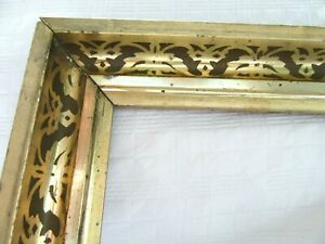 Antique Fits 8 X 10 Lemon Gold Gilt Picture Frame Stencil Wood Gesso Fine Art