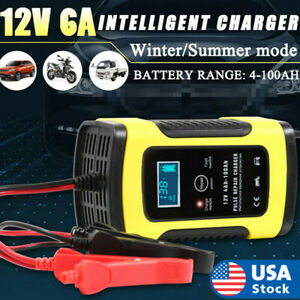 Battery Charger For Car And Motorcycle Repair Lcd Lead Acid 12v 6a Pulse Kit