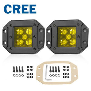 5 Flush Mount Amber Led Fog Work Light Bar Combo Driving Reverse Pods Off Road