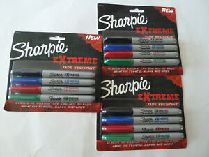 3 packs Of 4 Sharpie Extreme Markers Black Blue Red Green Sharpies Fine Point
