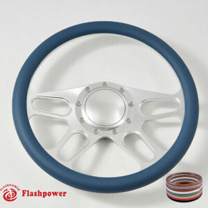 14 Satin Billet Blue Wrap Steering Wheels Chevy Gm Corvair Impala W Horn