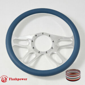 14 Polished Billet Blue Wrap Steering Wheels Ford Gm Corvair Impala