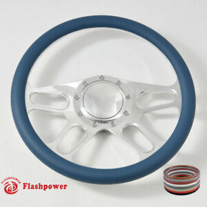 14 Polished Billet Blue Wrap Steering Wheels Chevy Gm Corvair Impala W Horn