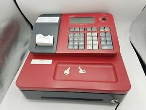 Casio Se g1 Electronic Cash Register Red With Rear Display Key Works Great