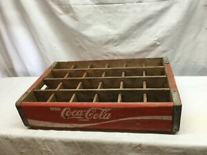 Vintage Coca-Cola Wooden Red Soda Pop Crate Carrier Box case wood COKE 24