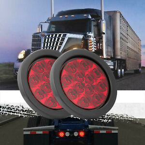 4 Round Stop Turn Tail Brake Sealed Truck Trailer Led Lights Rubber Mount Kit T