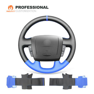 Black Blue Leather Steering Wheel Cover For Peugeot Boxer Citroen Jumper
