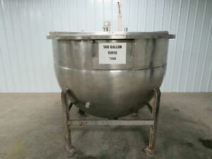 Hamilton 500 Gallon Stainless Steel Ss Jacketed Holding Mixing Tank Kettle W lid