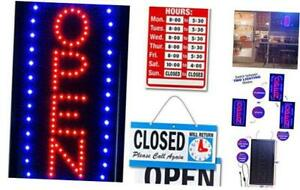 Ultima Led Neon Open Sign For Business Vertical Lighted Sign Open With Flashing