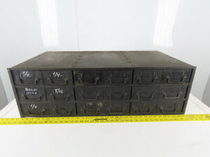 18 Drawer Industrial Metal Filing Parts Cabinet 34 3 4 w X17 3 4 d X 10 3 4 h
