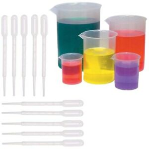 2x 5 Sizes Plastic Beakers Measuring Cups Set 50 100 250 500 1000ml An N5i5