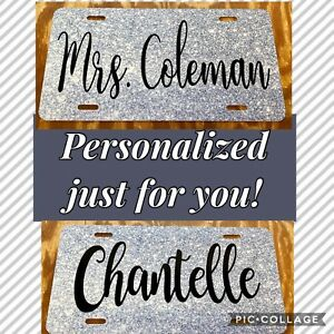 Personalized Glitter Like License Plate Silver Glitter Does Not Sparkle Car Tag