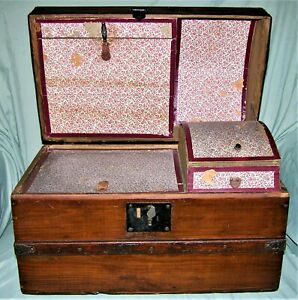 Antique Dome Hump Top Trunk Steamer Wooden Chest Childs Doll Size