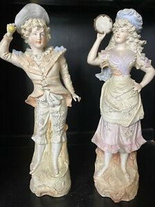 German Bisque Victorian Couple Pair Lady Man Figurines Statue 16 1 4