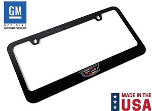 Black License Plate Frame W New Cadillac Crest Logo Emblem