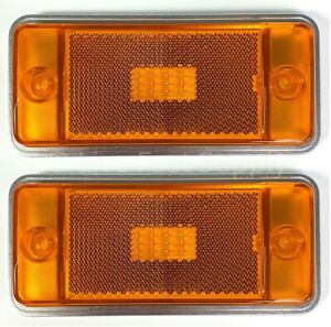 Pair Front Amber Led Side Markers W Aluminum Low Bezels For 1970 77 Ford Bronco