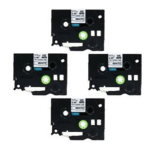 4pk Heat Shrink Label Cartridge Hse231 Black On White For Brother P touch 1 2