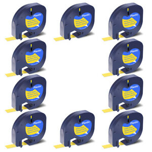 10x Black On Yellow Tape Label For Dymo Letra Tag Lablemaker Lt 91332 12mm 1 2