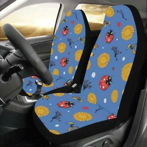 Ladybug Pattern Blue Universal Fit Car Seat Covers Protectors Accessories