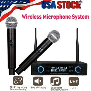US 2 Channel UHF Wireless Dual Microphone Cordless Handheld Mic System Household $39.88
