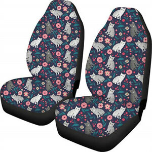Floral Cat Blue Women Car Seat Covers For Girls Front Seat Only Full Set Of 2pc
