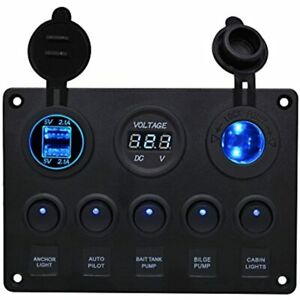 Bluefire Waterproof 5 Gang Rocker Switch Panel With 4 2a Dual Usb Slot Socket