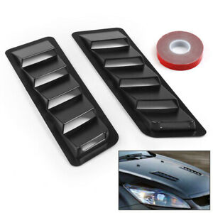 Fits 17x5 Inch Universal Hood Vent Louver Air Cooling Panel Trim Set Black Abs