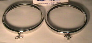 1928 1929 Model A Ford Headlight Rims In Polished Stainless Steel One Pair