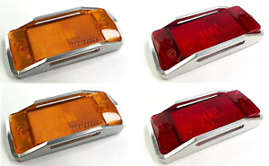 Front Rear Led Side Markers W Aluminum Raised Bezels For 1970 77 Ford Bronco