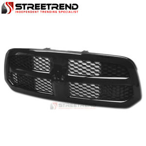 For 2013 2018 Dodge Ram 1500 Gloss Black Honeycomb Mesh Front Hood Bumper Grille